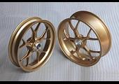 Forged Aluminium Racing wheel set, 5 spoke, PVM, Front 3.50 x 17, Rear 5.50 x 17, Gold.